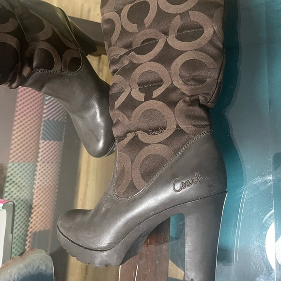 Coach 'Loryn' Monogram Brown Heeled Winter Boots
